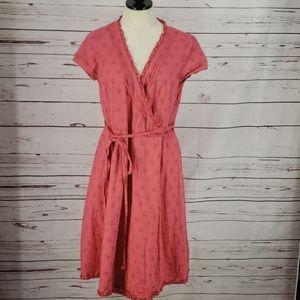 Boden Blush Pink Dots Ruffle Wrap Style Dress